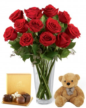 1 Dozen Long Stem Red Roses with Bear & Godiva®