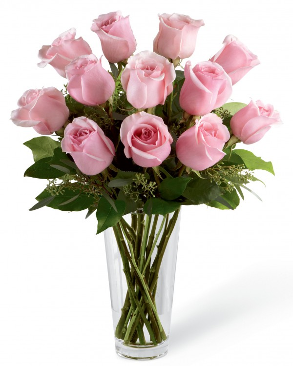 251 & Pink Rose Bouquet with Vase - 12 Stems